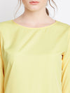 Yellow Solid A-Line Dress - Berrylush