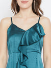 Teal Blue Solid Maxi Dress - Berrylush
