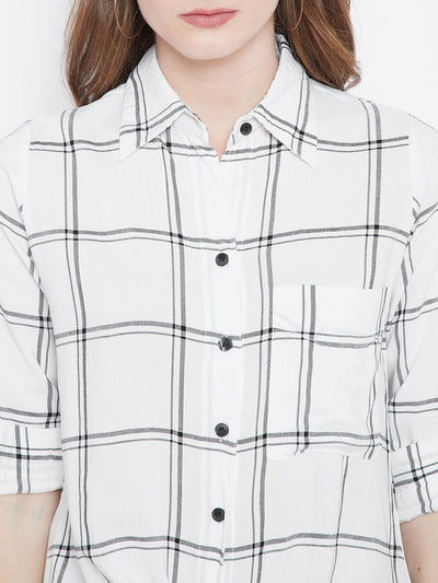 White & Black Checked Shirt Style Top - Berrylush