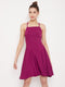 Berrylush Purple Solid Tie Back Mini Dress