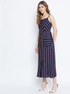 Berrylush Navy Blue & Red Striped Fit and Flare Dress