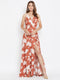 Berrylush Women Brown and White Printed Maxi Dress