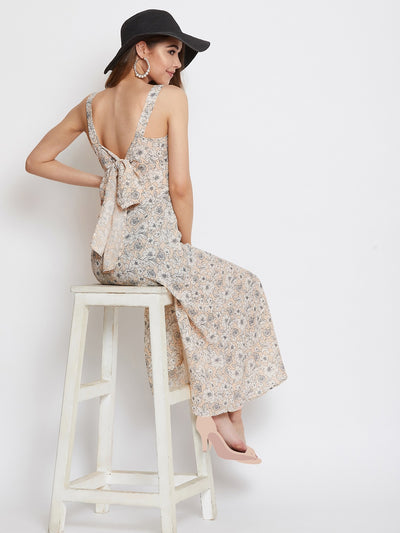 Berrylush Beige Floral Print Shoulder Straps Dress