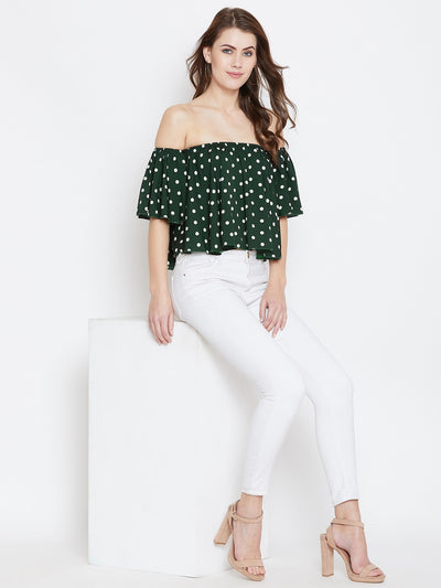 Green Printed Bardot Top - Berrylush