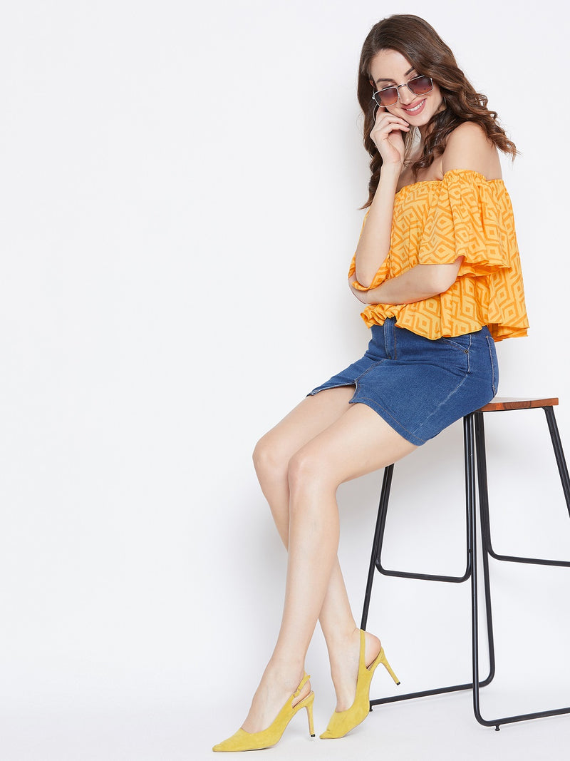 Yellow Geometrical Print Bardot Top
