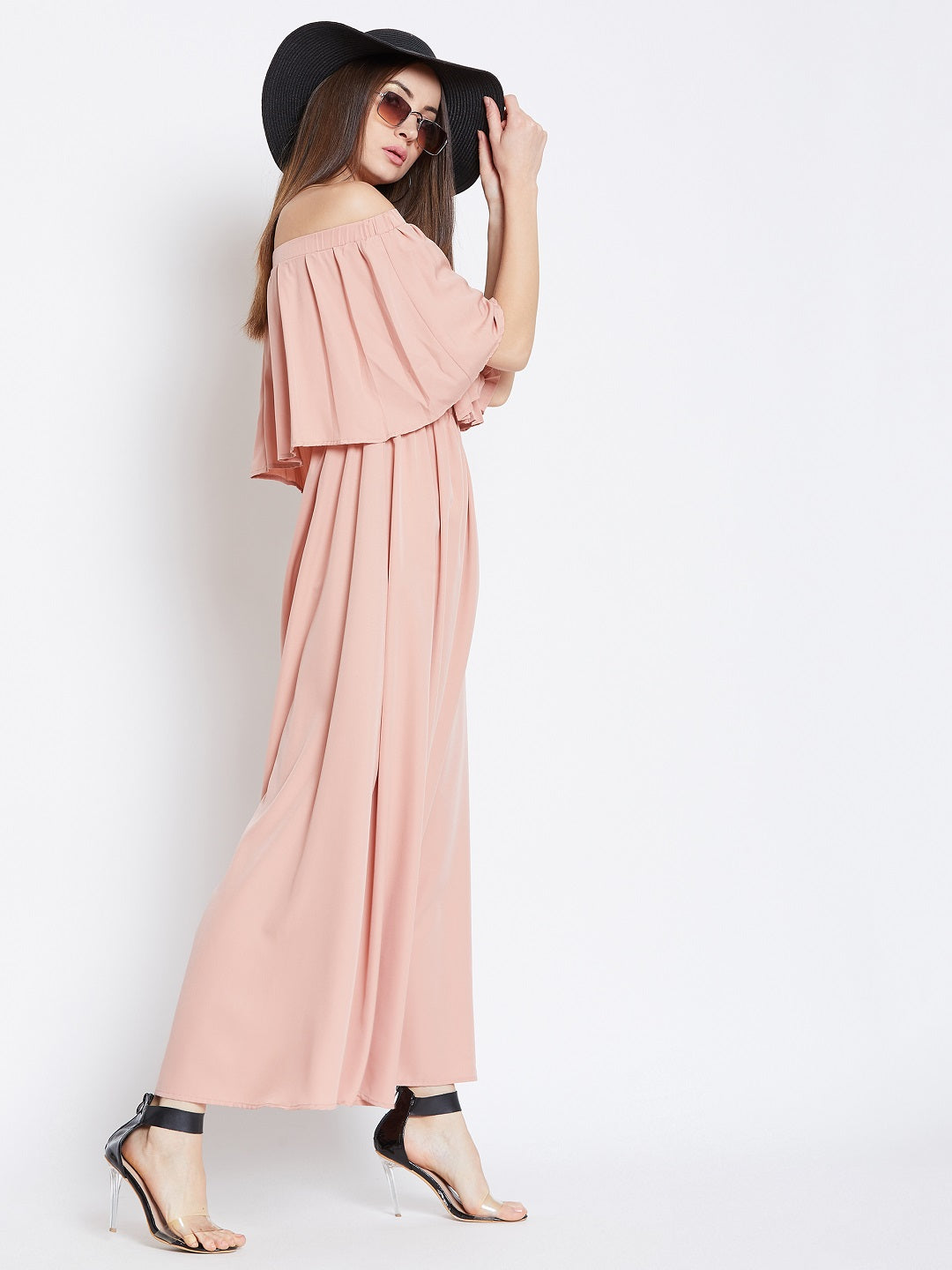 Dusty Pink Solid Off-Shoulder Maxi Dress
