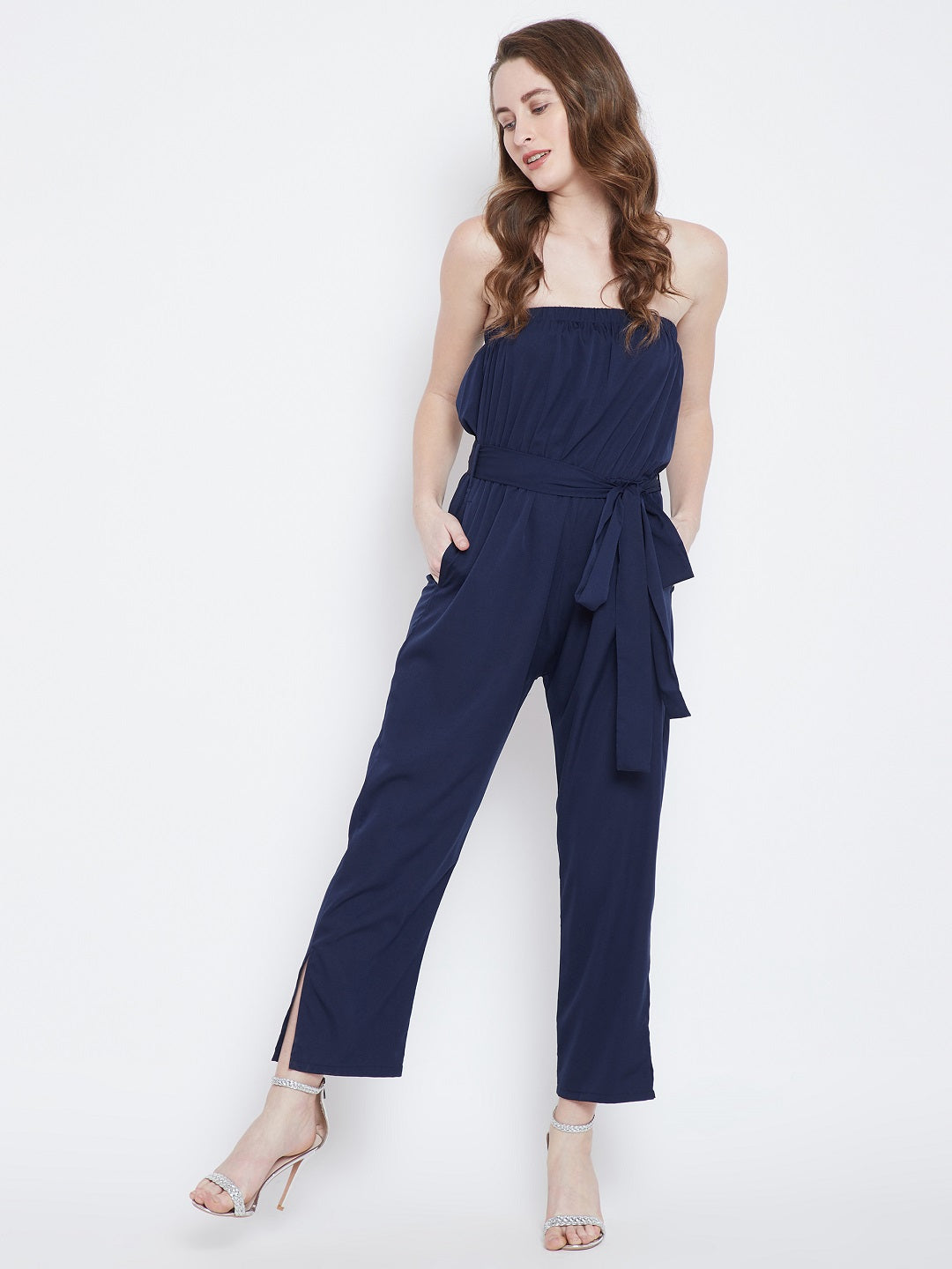 Berrylush Women Navy Blue Solid Jumpsuit