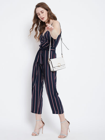 Navy Blue & Red Striped Capri Jumpsuit - Berrylush