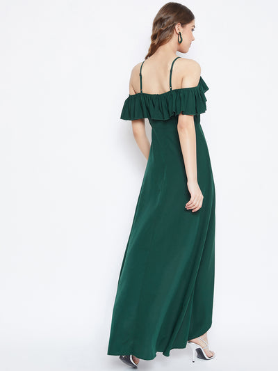 Berrylush Women Green Solid Frilled Maxi Dress