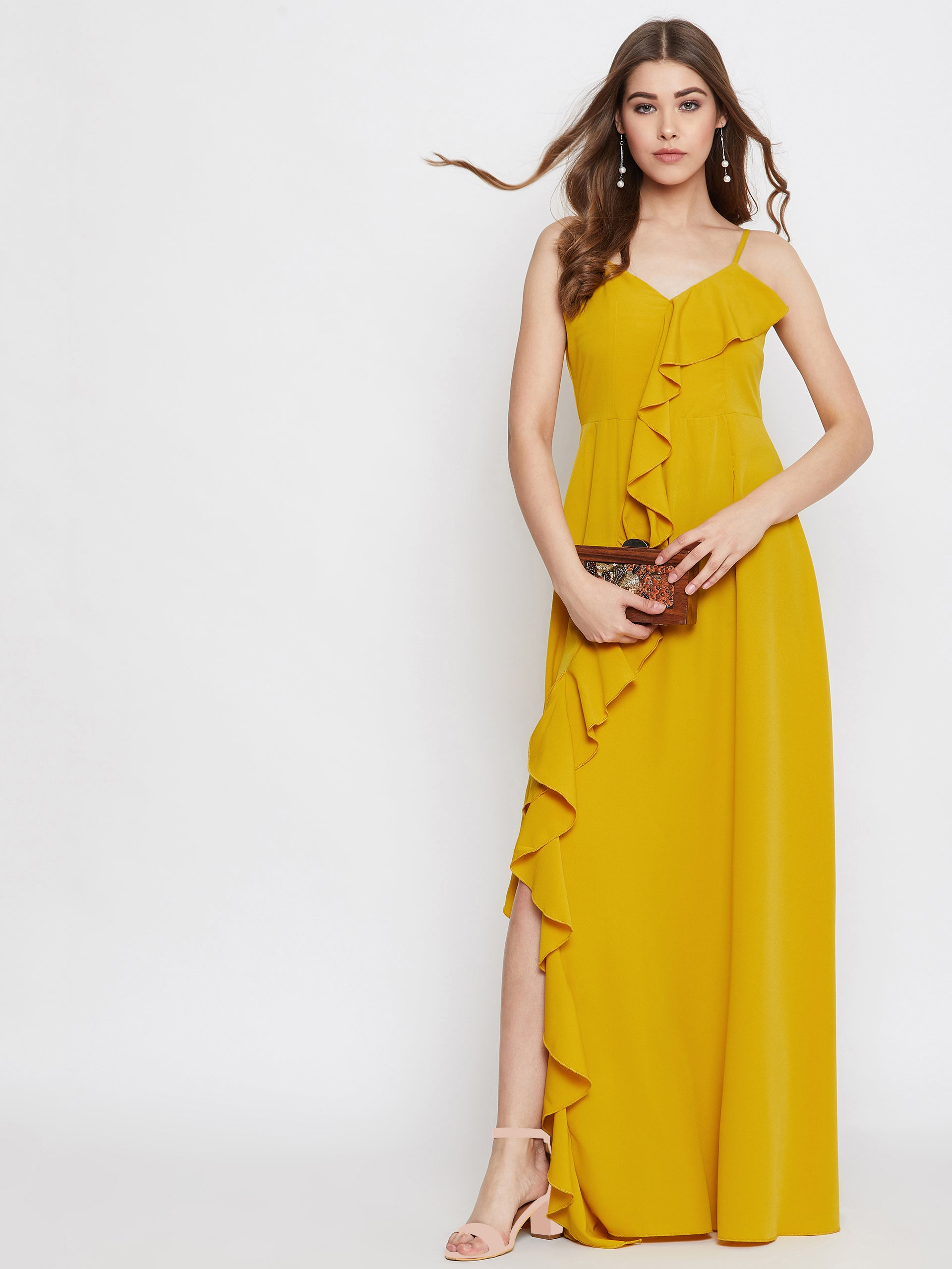 Berrylush Women Yellow Frill Style Maxi Dress