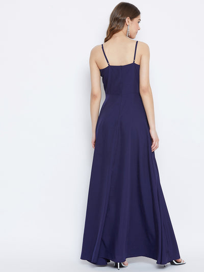 Berrylush Women Navy Blue Solid Maxi Dress