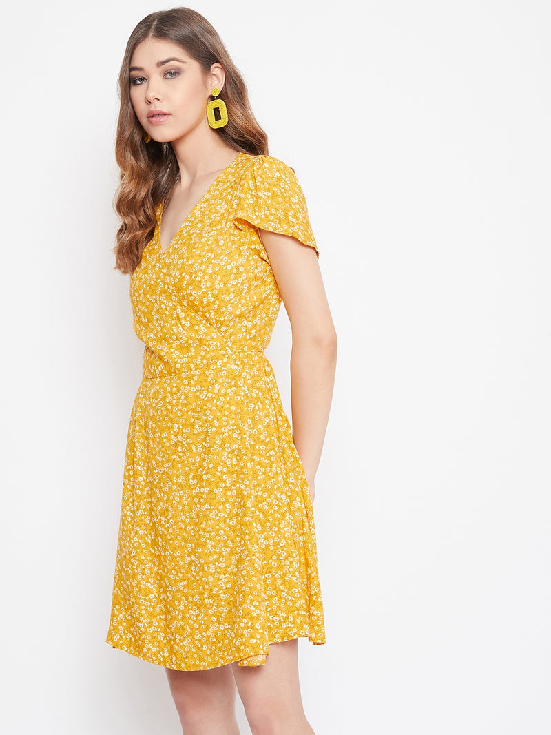 Berrylush Women Yellow Ditsy Floral Wrap Dress With Tulip Sleeves