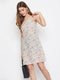 Berrylush Women Beige Printed A-Line Dress