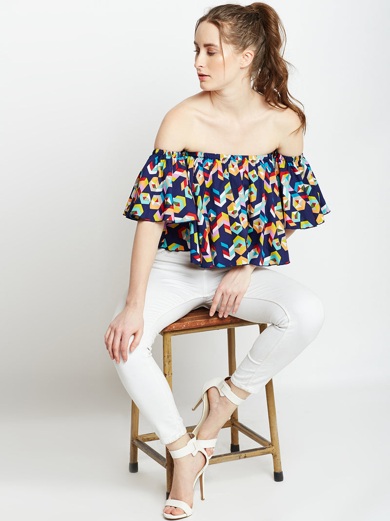 Navy Blue Printed Bardot Top
