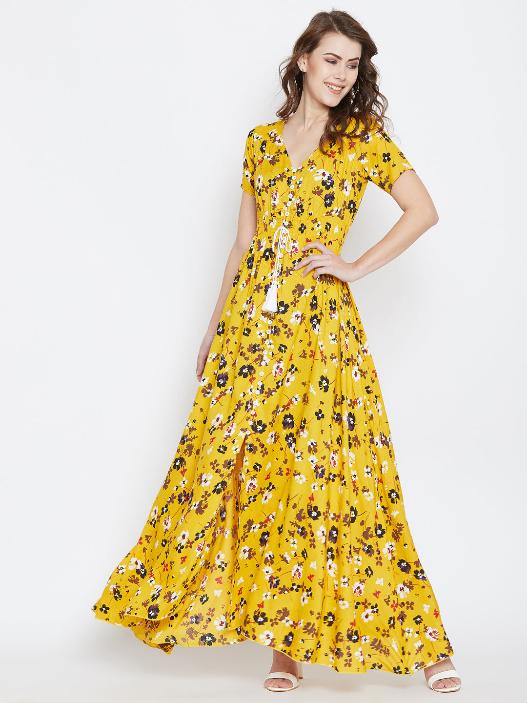 Berrylush Women Yellow & White Maxi Dress