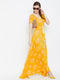 Berrylush Women Yellow smocked floral print maxi dress