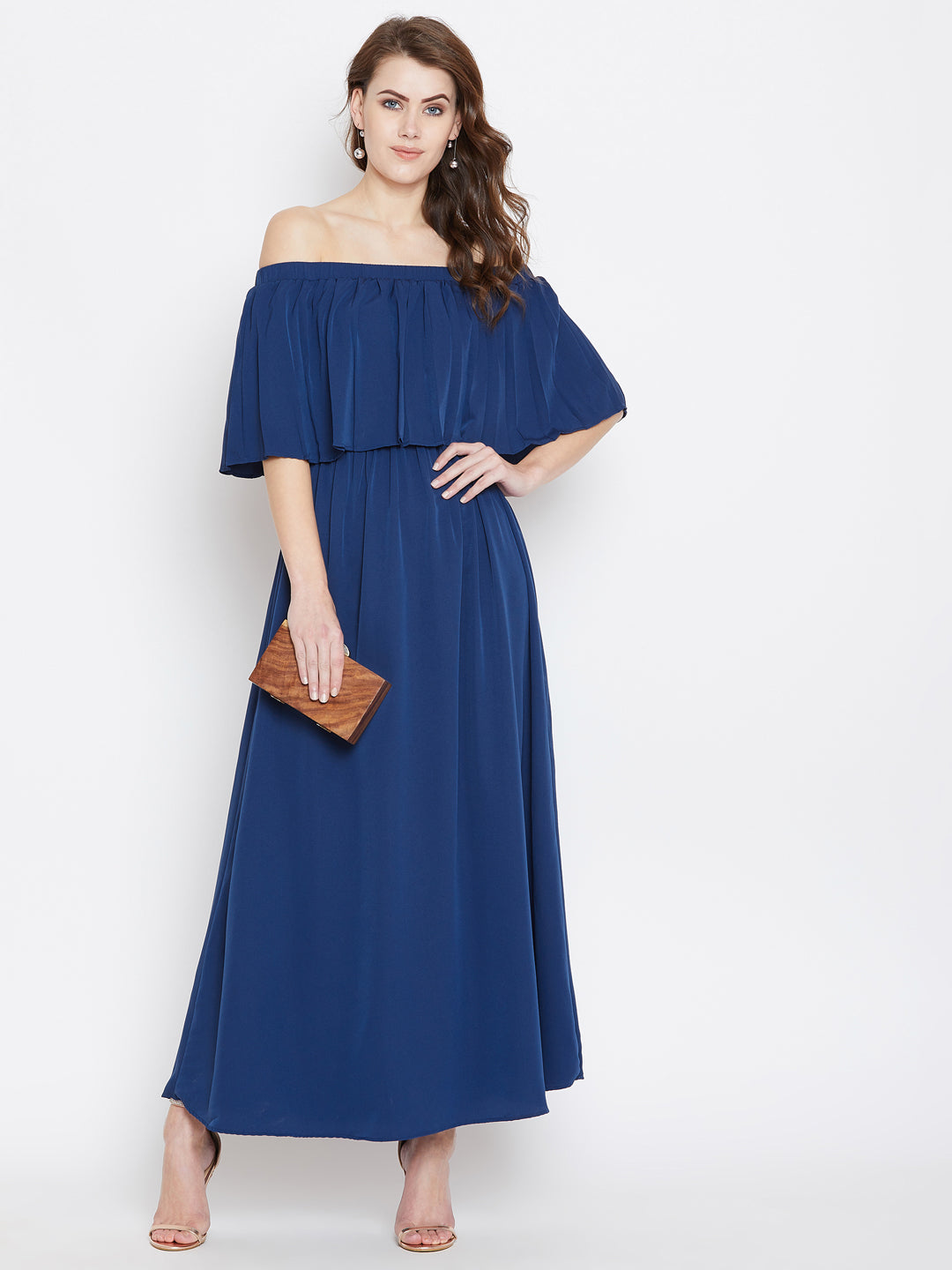 Blue Solid Off-Shoulder Layered Maxi Dress