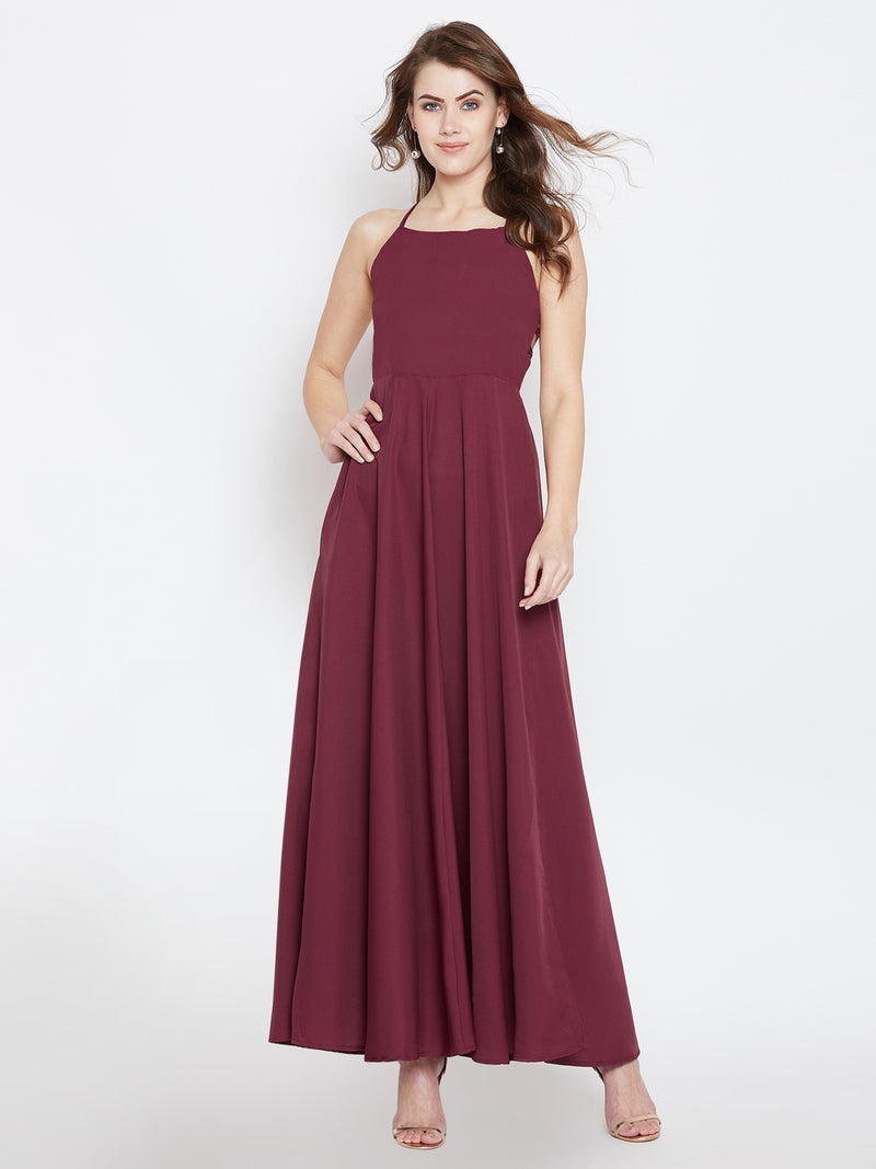 Maroon Solid Maxi Dress - Berrylush