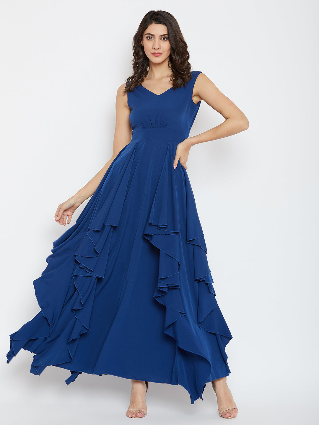 Blue Solid Maxi Dress - Berrylush