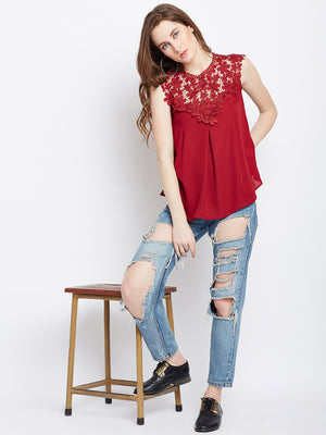 Maroon Self Design Top