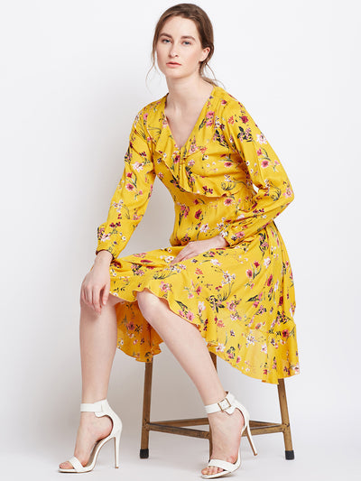 Yellow Printed Fit and Flare Dress - Berrylush