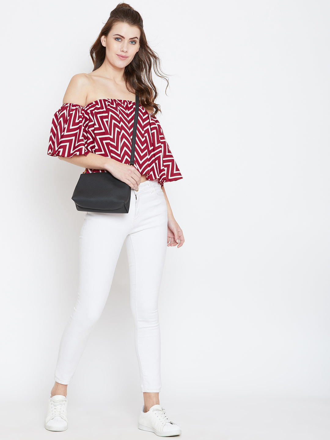 Red Printed Bardot Top