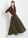 Berrylush Women Olive Green Solid Flared Maxi Skirt