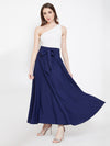 Berrylush Women Navy Blue Solid Bow-Tie High-Waist Maxi Skirt