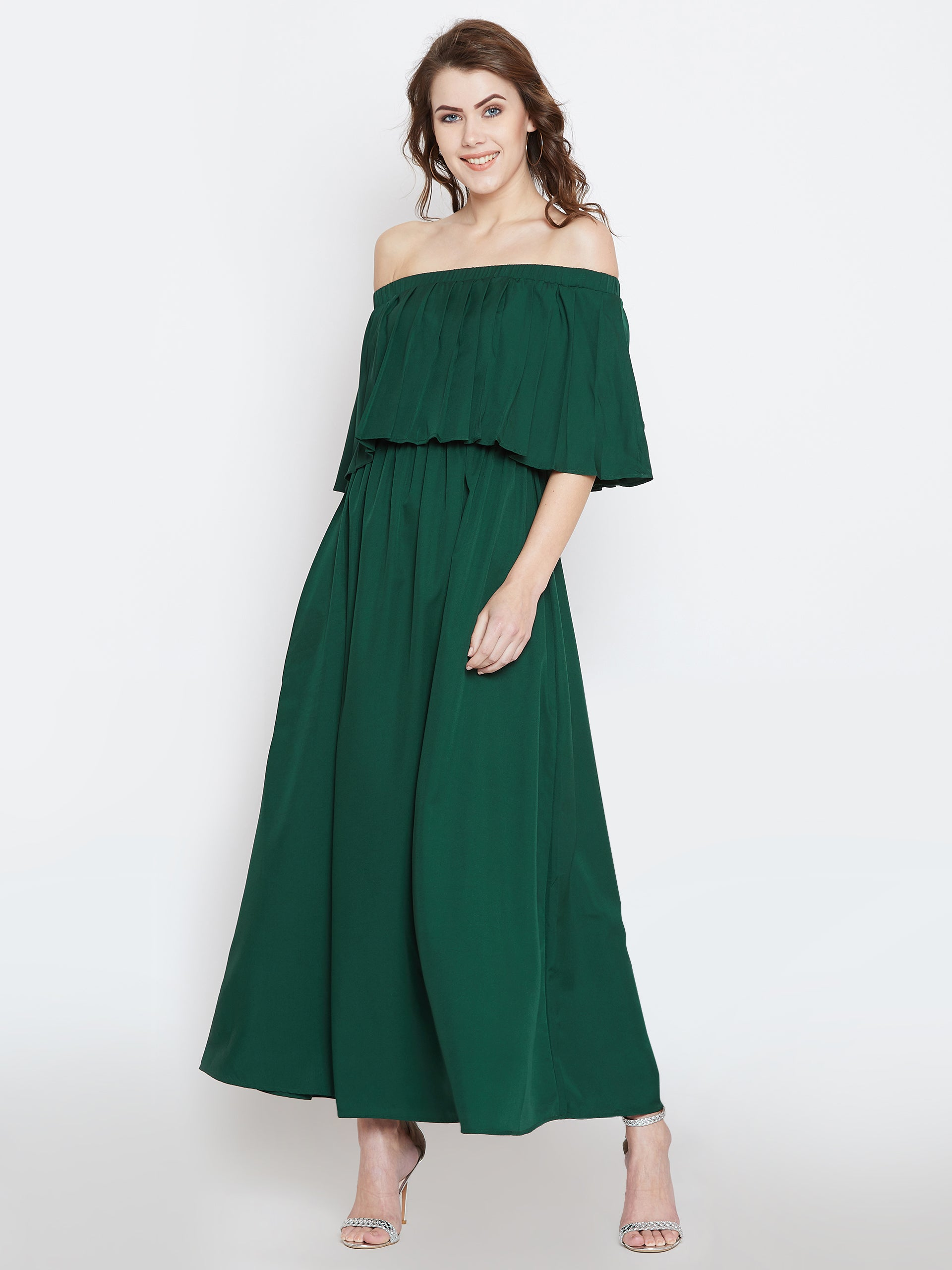 Berrylush Women Solid Green Maxi Dress