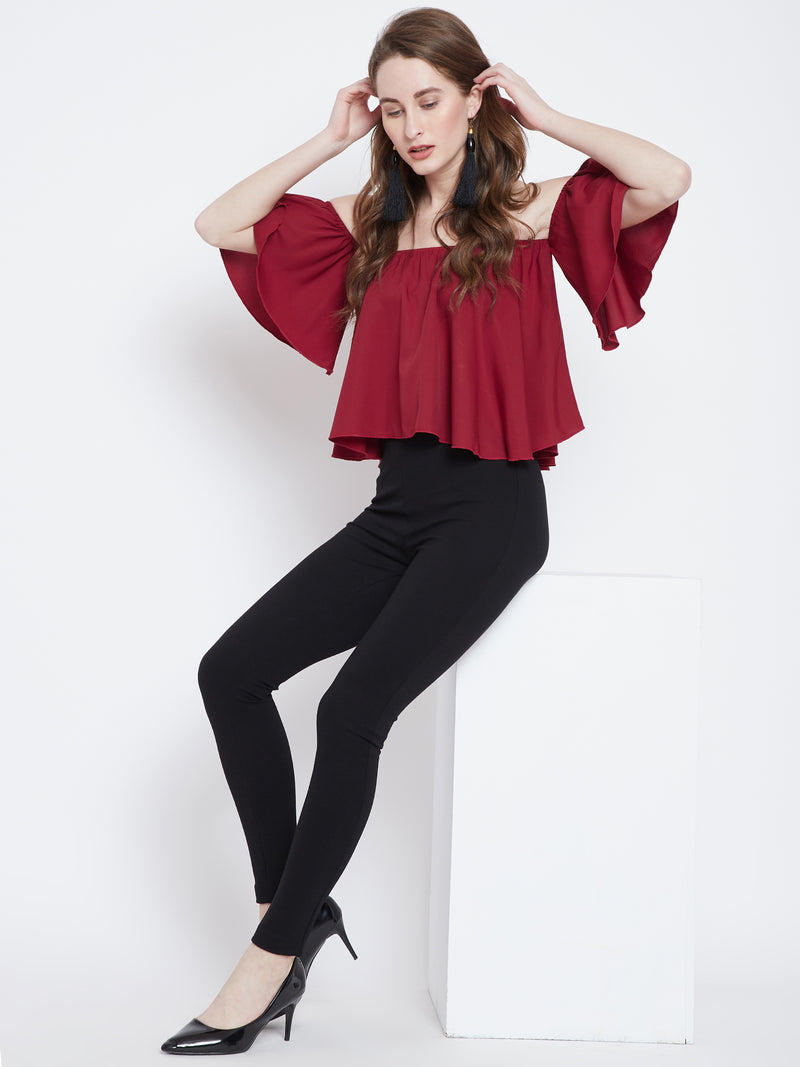 Berrylush Women Red Solid Bardot Top