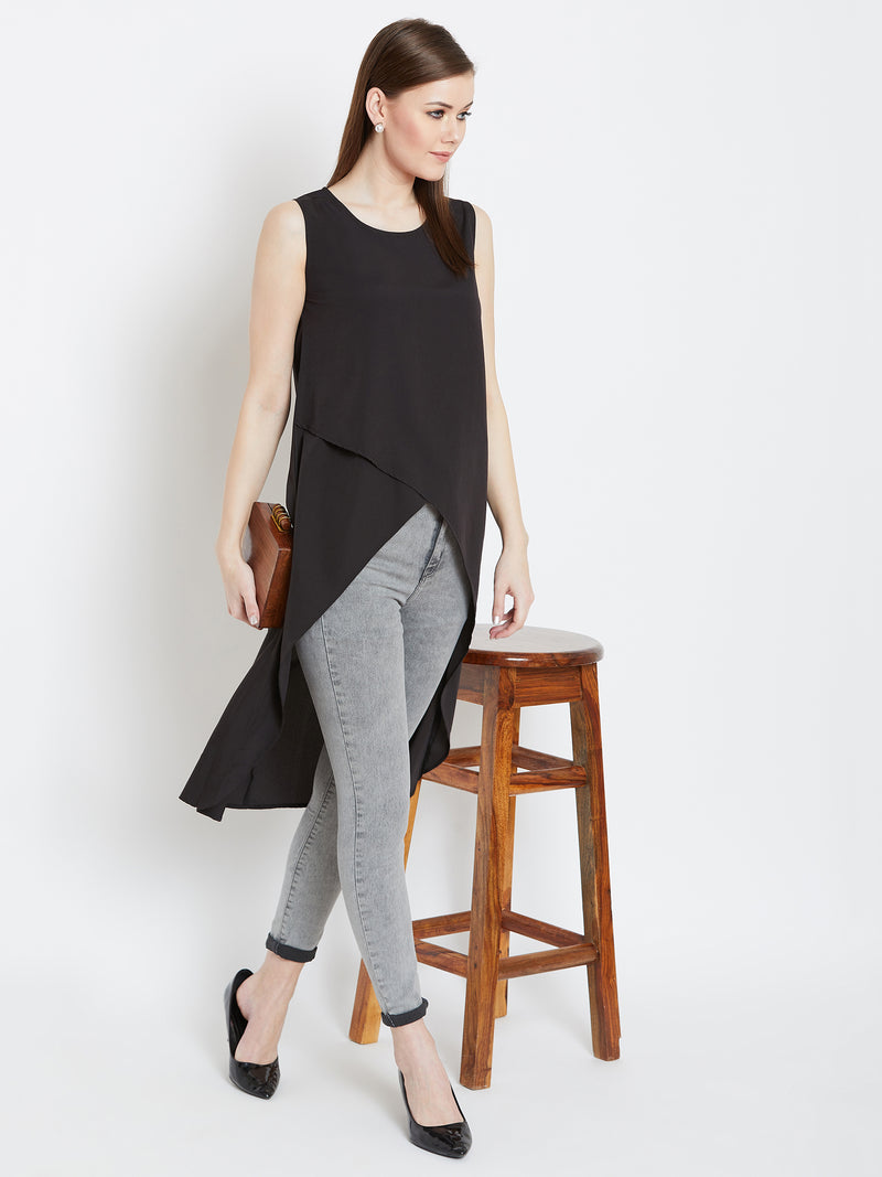Black high-low sleeveless front stylish top