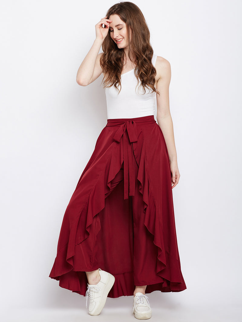 Berrylush Women Maroon Solid  Ruffled Wrap Maxi Skirt with Attached Palazzo