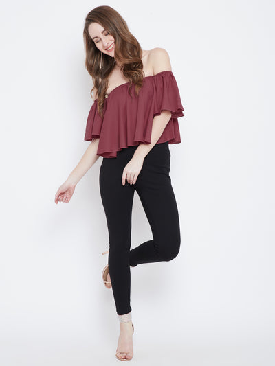 Mauve Solid Bardot Top - Berrylush