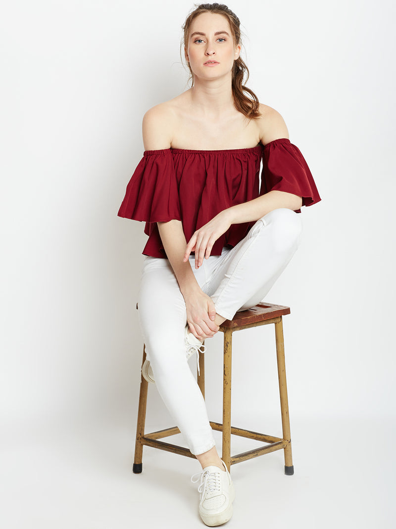 Berrylush Women Maroon Solid Bardot Top
