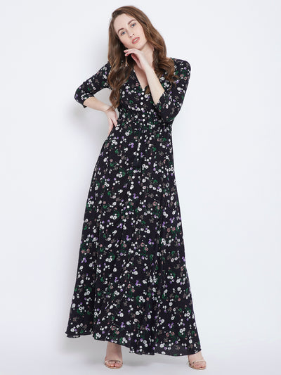 Black Printed Maxi Dress - Berrylush
