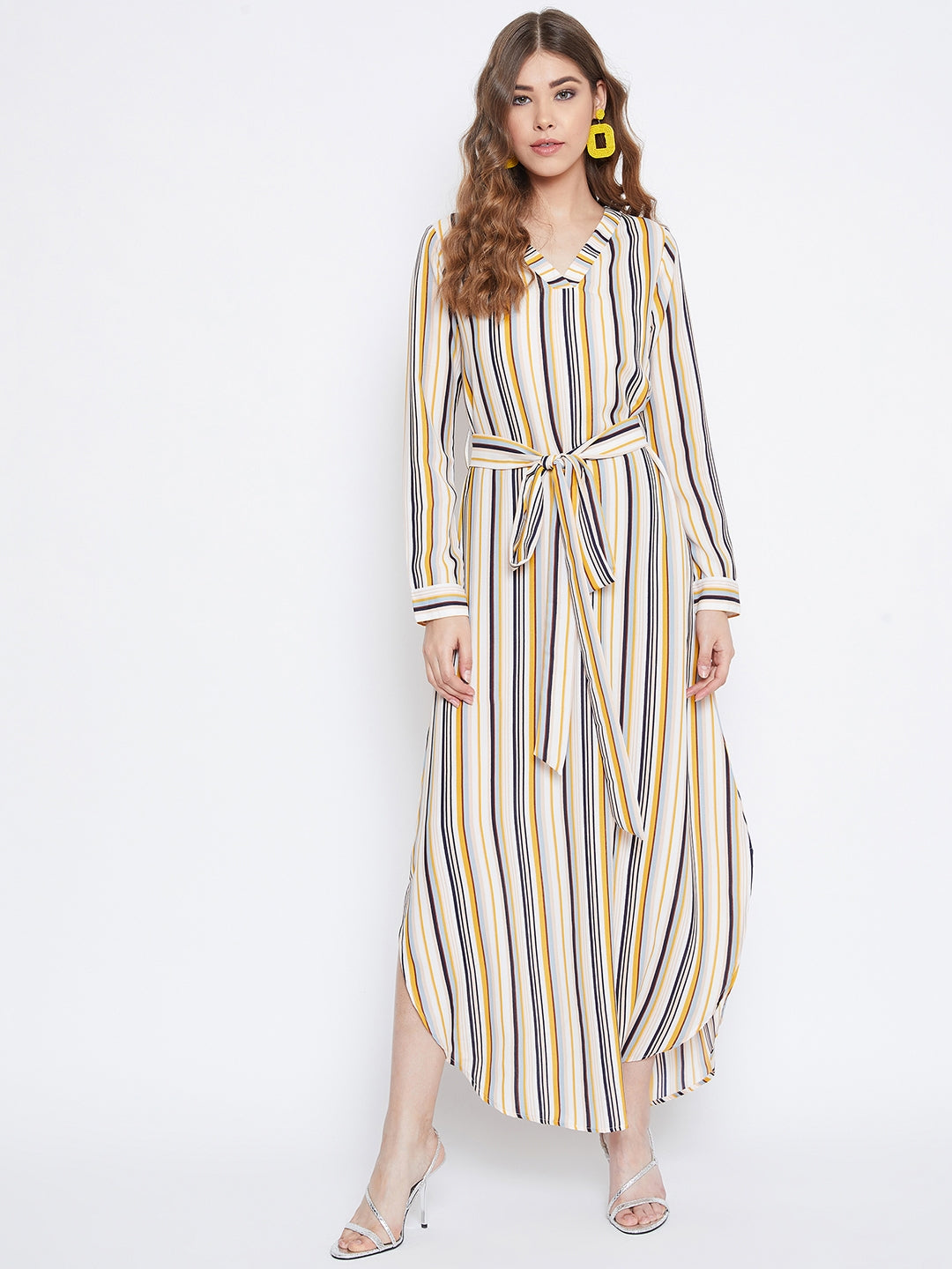 Berrylush Women Multicolor Striped Maxi Dress