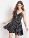 Berrylush Women Black Polka Dots Fit and Flare Dress