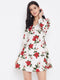 Berrylush White and Red Fit and Flare Floral Printed Wrap Dress