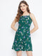 Berrylush Green Floral Print Shoulder-Strap Dress