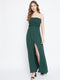 Berrylush Women Green Front Slit Smocked Maxi Dress