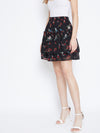 Berrylush Women Black and Red Layered Floral skirt