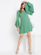 Berrylush Women Green Solid Flare Sleeves Dress