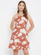 Berrylush Women Brown and White Printed Fit and Flare Dress