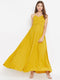 Berrylush Women Yellow Solid Ruched Bust Maxi Dress