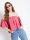 Berrylush Pink Solid Bardot Top