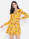 Berrylush Yellow Floral Print A Line Wrap Dress
