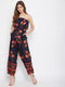 Berrylush Women Navy Blue Floral Off Shoulder Jumpsuit