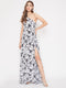 Berrylush Women Black and White Floral Printed One shoulder Maxi Dress