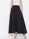 Berrylush Women Black Solid Bow-Tie High-Waist Maxi Skirt
