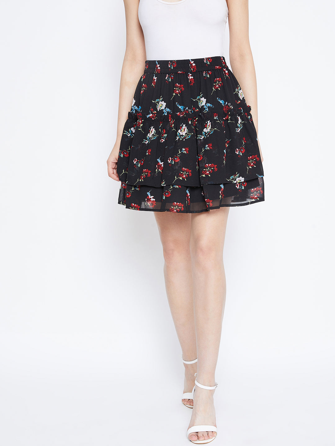 Berrylush Black and Red Layered Floral skirt